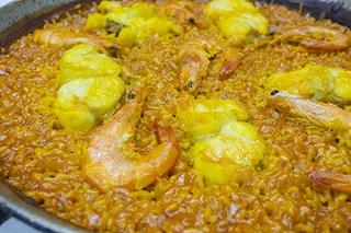 Detalle paella rape y langostinos - Restaurante Casa Picanterra