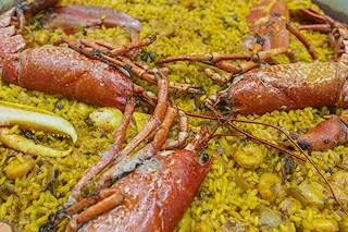 Detalle paella bogabante azul - Restaurante Casa Picanterra