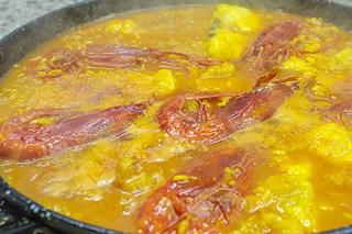 Detalle arroz meloso de rape y rojos - Restaurante Casa Picanterra